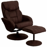 Contemporary Brown Microfiber Recliner and Ottoman with Circular Microfiber Wrapped Base [BT-7895-MIC-PINPOINT-GG]