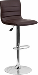 Contemporary Brown Vinyl Adjustable Height Barstool with Chrome Base [CH-92023-1-BRN-GG]