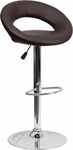Contemporary Brown Vinyl Rounded Back Adjustable Height Barstool with Chrome Base [DS-811-BRN-GG]