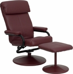 Contemporary Burgundy Leather Recliner and Ottoman with Leather Wrapped Base [BT-7863-BURG-GG]
