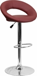 Contemporary Burgundy Vinyl Rounded Back Adjustable Height Barstool with Chrome Base [DS-811-BURG-GG]