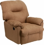 Contemporary Calcutta Camel Microfiber Power Chaise Recliner with Push Button [AM-CP9350-2600-GG]