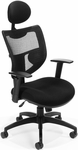 Parker Ridge Executive Mesh Chair with Adjustable Headrest - Black [580-BLACK-FS-MFO]