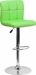 Contemporary Green Quilted Vinyl Adjustable Height Barstool with Chrome Base [DS-810-MOD-GRN-GG]