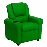 Contemporary Green Vinyl Kids Recliner with Cup Holder and Headrest [DG-ULT-KID-GRN-GG]