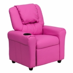 Contemporary Hot Pink Vinyl Kids Recliner with Cup Holder and Headrest [DG-ULT-KID-HOT-PINK-GG]