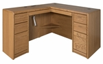 Contemporary Collection L Shaped Workstation with Left Return - Medium Oak [00681L-006841L-R-FS-KIMF]