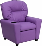 Contemporary Lavender Vinyl Kids Recliner with Cup Holder [BT-7950-KID-LAV-GG]