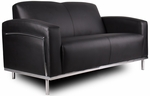 Contemporary CaressoftPlus Love Seat with Stainless Steel Frame - Black [BR99002-BK-FS-BOSS]