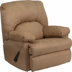 Contemporary Montana Latte Microfiber Suede Rocker Recliner [WM-8500-264-GG]