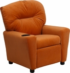Contemporary Orange Microfiber Kids Recliner with Cup Holder [BT-7950-KID-MIC-ORG-GG]