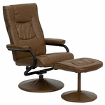 Contemporary Palimino Leather Recliner and Ottoman with Leather Wrapped Base [BT-7862-PALIMINO-GG]