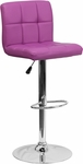 Contemporary Purple Quilted Vinyl Adjustable Height Barstool with Chrome Base [DS-810-MOD-PUR-GG]