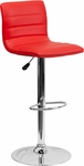 Contemporary Red Vinyl Adjustable Height Barstool with Chrome Base [CH-92023-1-RED-GG]
