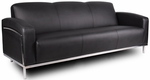 Contemporary CaressoftPlus Sofa with Stainless Steel Frame - Black [BR99003-BK-FS-BOSS]