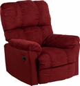 Contemporary Top Hat Berry Microfiber Power Recliner with Push Button