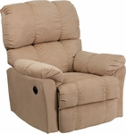 Contemporary Top Hat Coffee Microfiber Power Recliner with Push Button [AM-P9320-4172-GG]
