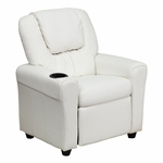 Contemporary White Vinyl Kids Recliner with Cup Holder and Headrest [DG-ULT-KID-WHITE-GG]