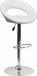 Contemporary White Vinyl Rounded Back Adjustable Height Barstool with Chrome Base [DS-811-WH-GG]