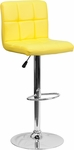 Contemporary Yellow Quilted Vinyl Adjustable Height Barstool with Chrome Base [DS-810-MOD-YEL-GG]