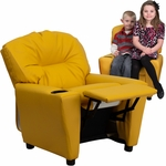 Contemporary Yellow Vinyl Kids Recliner with Cup Holder [BT-7950-KID-YEL-GG]