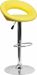 Contemporary Yellow Vinyl Rounded Back Adjustable Height Barstool with Chrome Base [DS-811-YEL-GG]