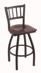 Contessa 25'' Black Wrinkle Finish Counter Height Swivel Stool with Dark Cherry Maple Wood Seat [81025BWDCMPL-FS-HOB]