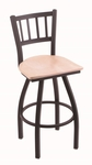 Contessa 25'' Black Wrinkle Finish Counter Height Swivel Stool with Natural Maple Wood Seat [81025BWNATMPL-FS-HOB]