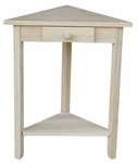 Classic Solid Parawood 20''W X 24''H Corner Accent Table with Drawer and Storage Shelf - Unfinished [OT-95-FS-WHT]