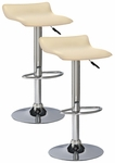 Favorite Finds Height Adjustable Swivel Barstool with Faux Leather Seat - Set of 2 - Cream [10042CR-FS-LCK]