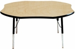Adjustable Toddler Height Laminate Top Shamrock Activity Table - Maple Top with Black Edge and Legs - 48''W x 48''D x 16''H - 24''H [M48SRBK-TN-MHR]