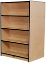 Double-Sided 8 Shelf Laminate Book Case - Maple with Black Trim - 36''W x 25.25''D x 60''H