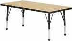 Adjustable Toddler Height Laminate Top Rectangular Activity Table - Maple Top with Black Edge and Legs - 30''W x 24''D x 16''H - 24''H [M2430BK-TB-MHR]