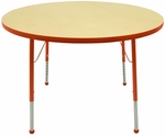 Adjustable Toddler Height Laminate Top Round Activity Table - Maple Top with Autumn Orange Edge and Legs - 36'' Diameter x 16''H - 24''H [M36RNAO-TB-MHR]
