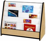5 Shelf Laminate Book Stand with Write-N-Wipe Back - Maple with Black Trim - 32.5''W x 16.5''D x 27.5''H [M50025-BK-MHR]