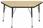 Adjustable Toddler Height Laminate Top Trapezoid Activity Table - Maple Top with Black Edge and Legs - 48''W x 24''D x 16''H - 24''H [M2448TBK-TB-MHR]