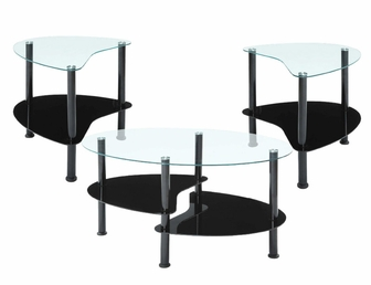 Crescent 3 Piece Scratch Resistant Tempered Glass Coffee Table Set With Black Metal Frame Ce003g29 Fs Inv