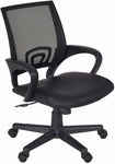 Curve Height Adjustable Office Chair with Casters - Black Leather and Mesh [2900BK-FS-REG]