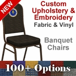 Custom Crown Back Banquet Chair with Gold Vein Frame - Customize your chair with Text, Logos and Images [FD-C01-GV-CUSTOM-EMB-GG]