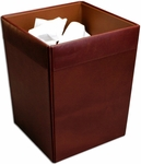 Classic Leather Square Waste Basket - Mocha [A3003-FS-DAC]