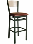 Dale Metal Frame Barstool - Wood Back and Vinyl Seat [2150BBLV-BFMS]