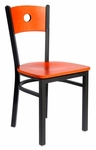 Darby Metal Frame Chair - Circle Wood Back and Wood Seat [2152CW-SB-BFMS]