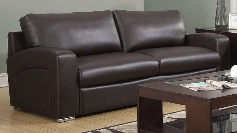plush bonded leather sofa with removable back cushions
