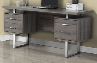 floating top 60''w home office desk with silver metal accents