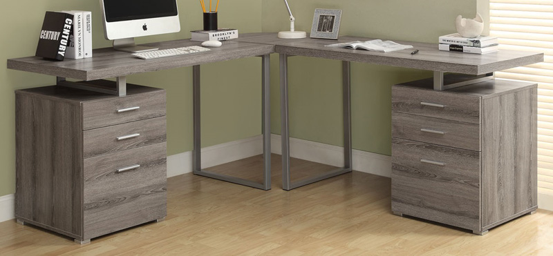 l-shaped left or right facing home office desk with storage - dark