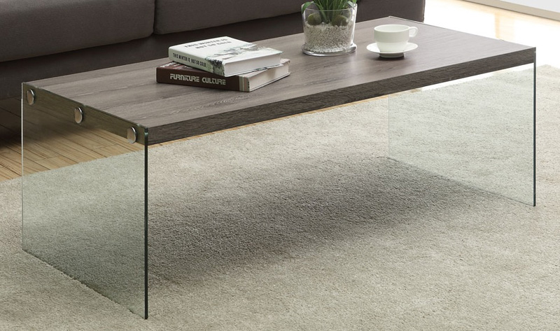 Modern 44W Coffee Table with Tempered Glass Base Dark Taupe I