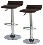 Favorite Finds Height Adjustable Swivel Barstool with Faux Leather Seat - Set of 2 - Deep Brown [10042DB-FS-LCK]