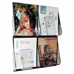 Deflect-O Magazine Wall Rack -4 Pocket -18 1/4'' x 2 7/8'' x 23 1/2'' -Clear [DEF56001-FS-SP]