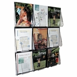 Deflect-O Magazine Wall Rack - 9 Pocket - 27 3/8'' x 2 7/8'' x 35 1/4'' - Clear [DEF56801-FS-SP]