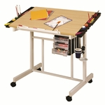 Deluxe Maple and Steel Craft Station with Removable Storage Trays - White [13251-FS-SDI]